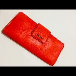 Fossil orange wallet